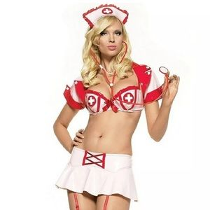 💗 RARE 5pc Vinyl Naughty Nurse Costume M/L EUC 💗
